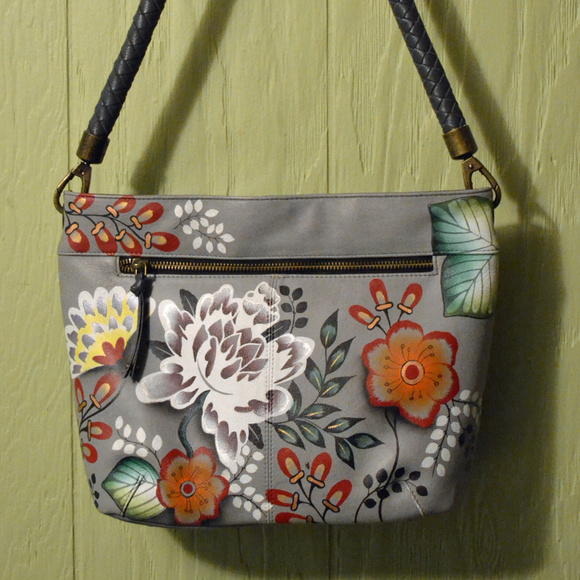 3efeda3ec614 Anuschka Anna Leather Flower Hobo Shoulder Bag EUC